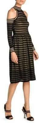 Fendi Cutout Shoulder Waffle-Knit Dress