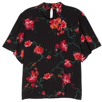 BP Floral Print Mock Neck Blouse