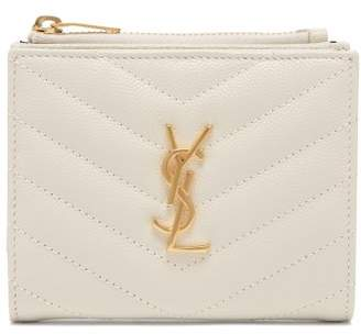 Saint Laurent Monogram Grained Leather Wallet - Womens - White