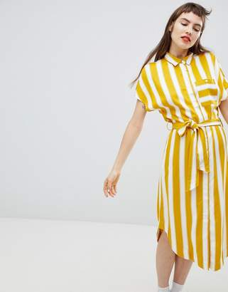 Monki Stripe Shirt Smock Dress