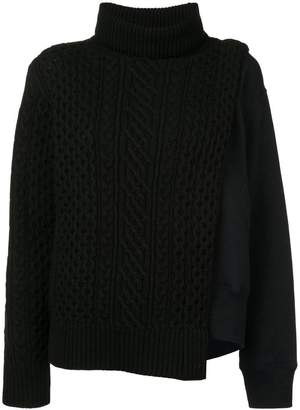 Sacai layered cable knit tabard sweatshirt