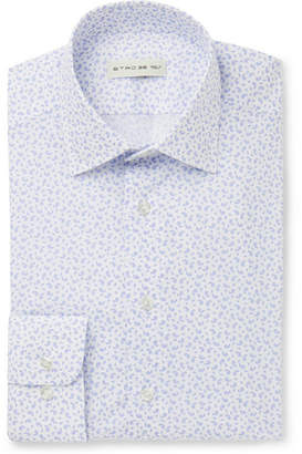 White Slim-Fit Spread-Collar Paisley-Print Cotton Shirt