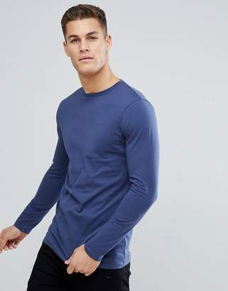 Asos DESIGN longline crew neck t-shirt with long sleeves in blue
