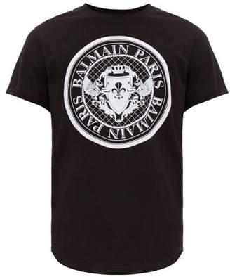 Balmain Flocked Logo Crest Cotton T Shirt - Mens - Black