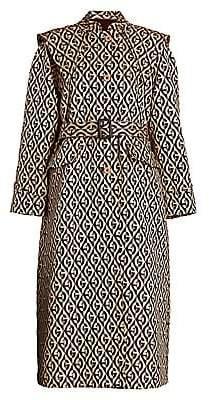 Gucci Women's Oversized Stretch Wool & Silk Jacquard Logo Trench Coat