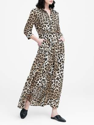Banana Republic Leopard Print Maxi Shirtdress