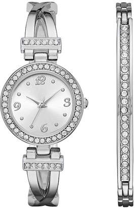 GENEVA Geneva Womens Silver-Tone T-Bar Bangle Watch Boxed Set