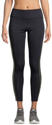 Tribeca Nylora Metallic Racer-Stripe Activewear Leggings