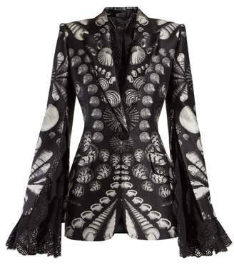 Alexander McQueen Shell Print Lace Trimmed Wool Blend Twill Blazer - Womens - Black White