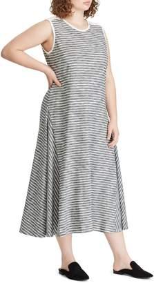 Lauren Ralph Lauren Plus Striped Cotton A-Line Dress