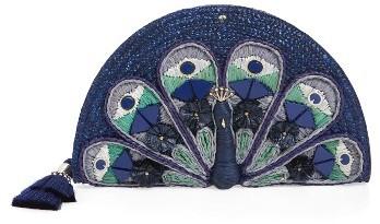 Kate SpadeKate Spade New York Full Plume Peacock Straw Clutch - Blue
