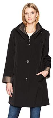 Gallery Women's 3/4 A Line Single Breasted Rain Coat