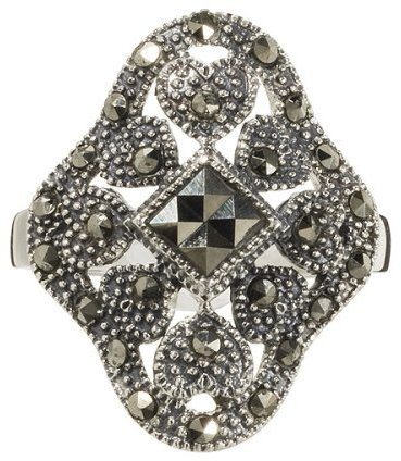 Sterling Silver Large Filigree Marcasite Ring