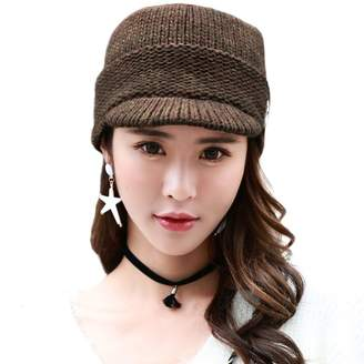 Siggi Acrylic Knitted Newsboy Cap Beanies Visor Bill Cold Weather Winter Hat Ladies Beret