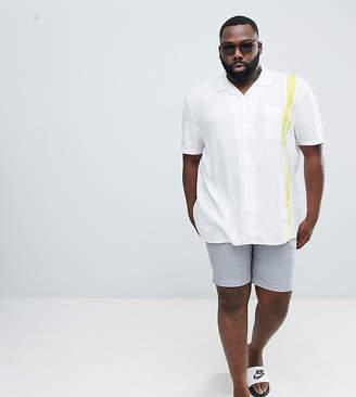 Asos Design DESIGN Plus regular fit viscose shirt with yellow tape in white