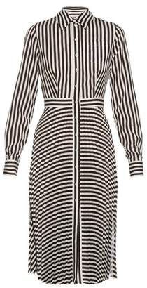 Altuzarra Dane Striped Crepe De Chine Dress - Womens - Black White