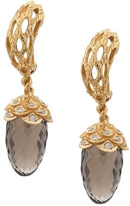 Carrera 18kt yellow gold, diamond and quartz drop earrings