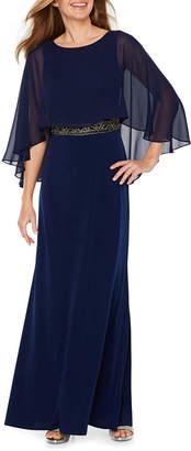 Melrose Short Sleeve Embellished Evening Gown