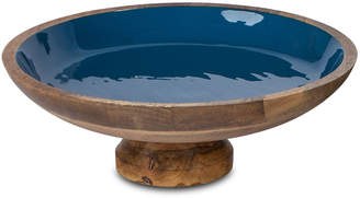 GG Collection G G Collection Deep Blue Wood & Enamel Pedestal Bowl