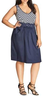City Chic Plus Ahoy Sailor Stripe Dress