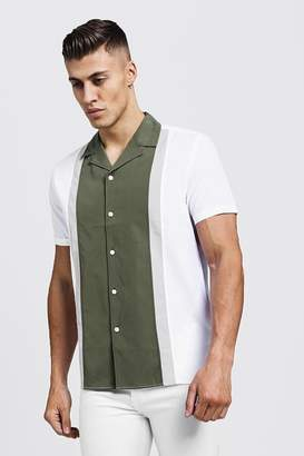 boohoo Revere Short Sleeve Shirt In Colour Block