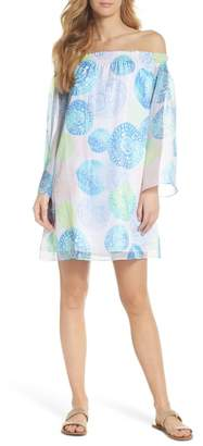 Lilly Pulitzer R) Abi Off the Shoulder Silk Dress