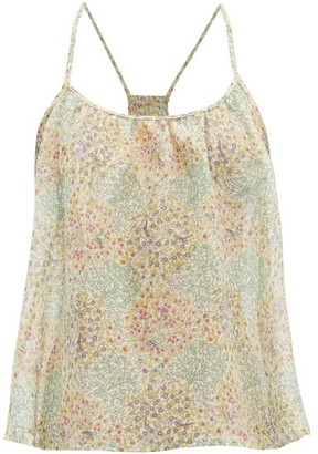 Loup Charmant Liberty Print Cotton Voile Top - Womens - Green