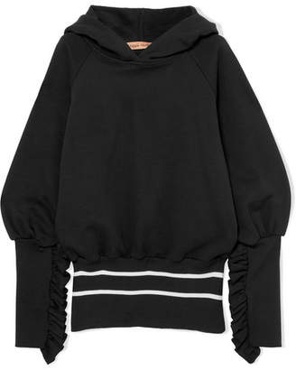 Maggie Marilyn - Way Past Curfew Striped Organic Cotton-fleece Hoodie - Black