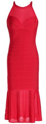 Herve Leger Stretch Knit-Paneled Bandage Midi Dress