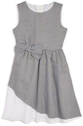 Us Angels Girls' Sleeveless Striped Bow Dress - Little Kid