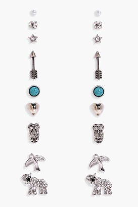 boohoo Elephant And Arrow Mixed Earring Stud 9pk