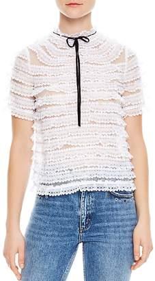Sandro Addiction Tiered Mesh & Lace Silk Top