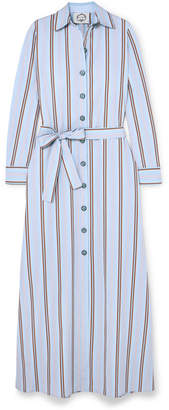 Evi Grintela Valerie Belted Striped Cotton-poplin Maxi Dress - Blue