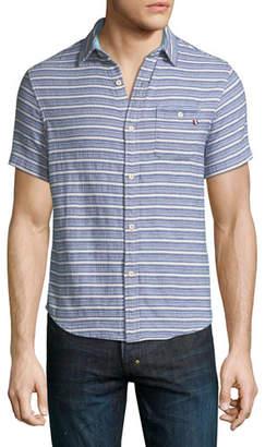 Sol Angeles Indigo Striped Short-Sleeve Sport Shirt