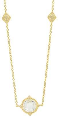 Freida Rothman 14K Yellow Gold Plated Sterling Silver Mirror Stone Bezel Set CZ Pendant Necklace