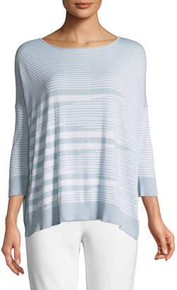 Joan Vass Mixed-Striped Cotton/Modal Sweater