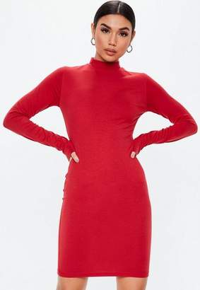Missguided Tall Red Curve Hem Turtle Neck Bodycon Mini Dress