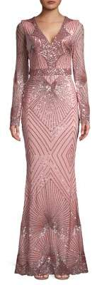Quiz Geo Sequin V-Neck Fit-&-Flare Gown