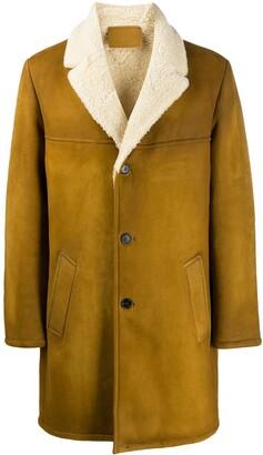 Prada sheepskin buttoned midi coat