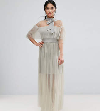 True Decadence Petite Pleated Mesh Dress With Tie Neck Detail