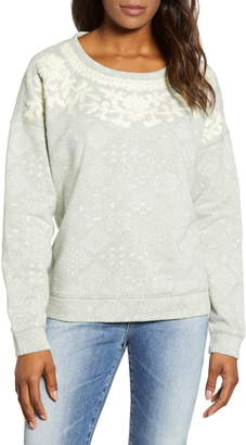 Lucky Brand Chenille Embroidery Tile Print Cotton Sweatshirt