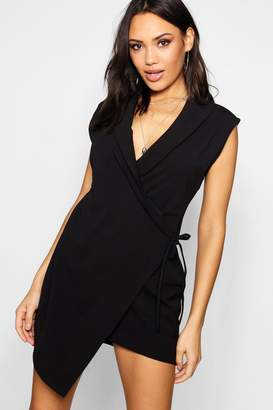 boohoo Sleeveless Blazer Wrap Dress