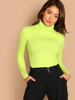 Shein Neon Lime Turtleneck Slim Fitted T-shirt