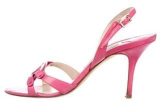 Jimmy Choo Leather Slingback Sandals Pink Leather Slingback Sandals