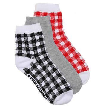 Steve Madden Gingham Ankle Socks - 3 Pack - Women's