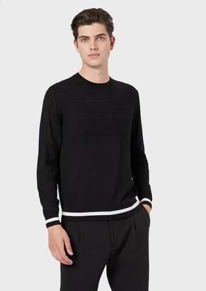 Emporio Armani Pure Virgin Wool Sweater With Jacquard Maxi Eagle