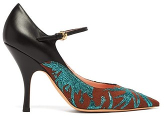 Rochas Brocade Leather And Canvas Mary Jane Pumps - Womens - Green Multi