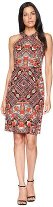 Maggy London Global Puzzle Novelty Linen Halter Sheath Women's Dress