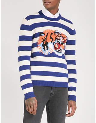 Gucci Tiger-intarsia striped wool jumper