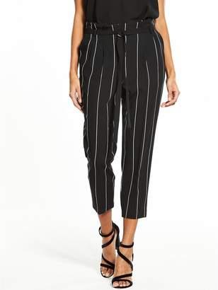 Miss Selfridge Pinstripe Paperbag Trouser - Black/White